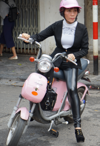 bike with pink lady